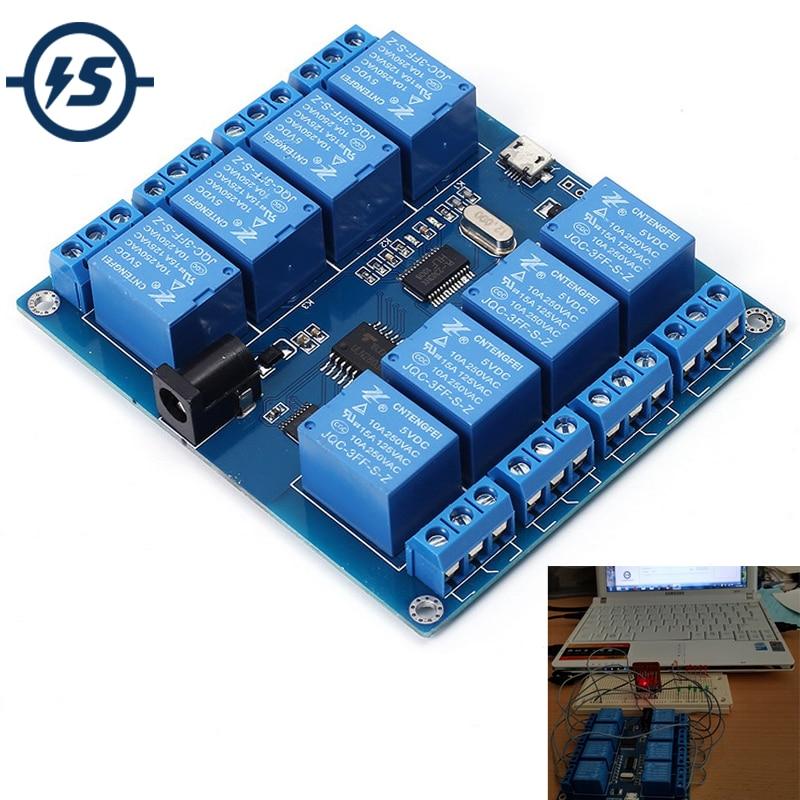 Relay Module Indicator Board DC 5V 10A 8 Channel Micro USB PC Upper Computer ICSE014A Software Control