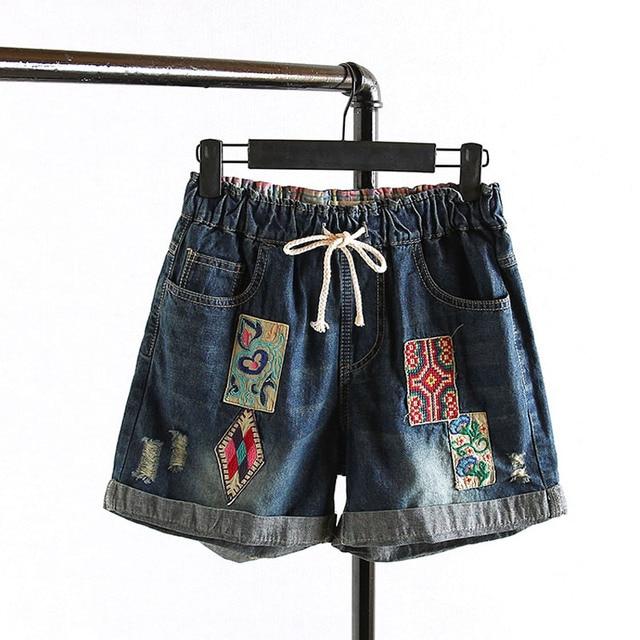Ripped Denim Shorts Women 2016 New Style Appliques Pockets Loose Casual Summer Shorts Plus Size 3XL Blue KK714