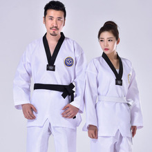 цена на Black Taekwondo Uniform Clothes Traditional white suite for kids adult student Tae kwon do dobok approve Black V-Neck clothing F