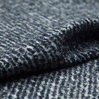ツイード:グレー-ブルー色ツイルウールブレンド綿ツイード生地