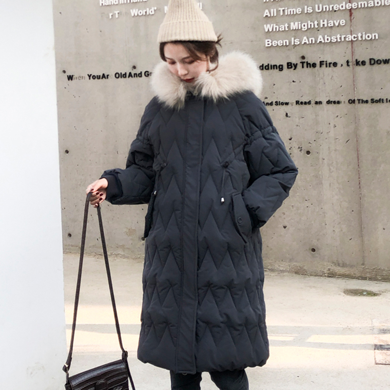 2019 Korean Style Winter Jacket Women Loose Oversized Female   Down     Coat   Hooded With Fur Warm Cotton Padded Long Parka