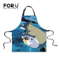 FORUDESIGNS Totoro Tablier Mignon Anime Cartoon Mon Voisin Totoro Cosplay Gris Cuisine Tablier Cuisine Maison barbecue Filles Femmes Tabliers