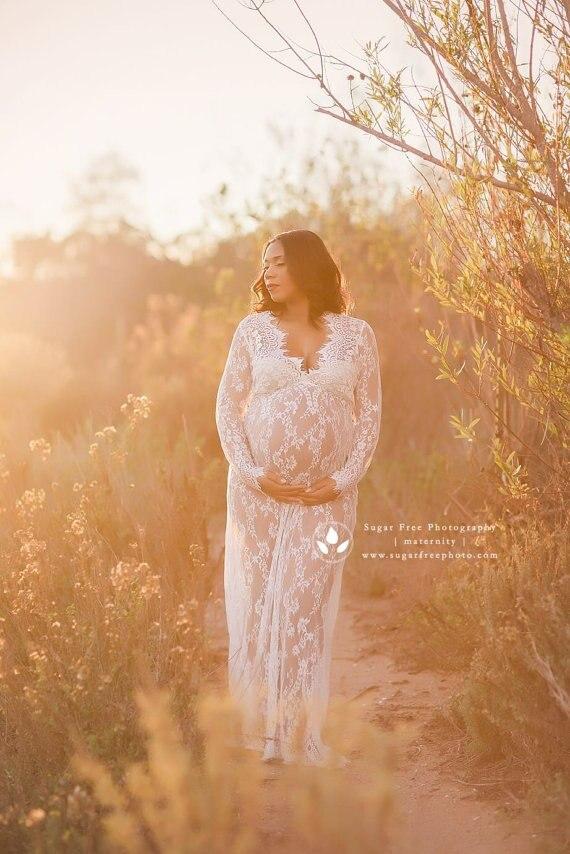 Vestido плюс Размеры халат фото grossesse беременных Для женщин Средства ухода за кожей для будущих мам Платья для женщин Для женщин Кружево Платья ...