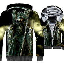 loose fit wool liner thick jackets men punk coats high quality streetwear hooded hoodies 2018 winter skull 3D printed tracksuits