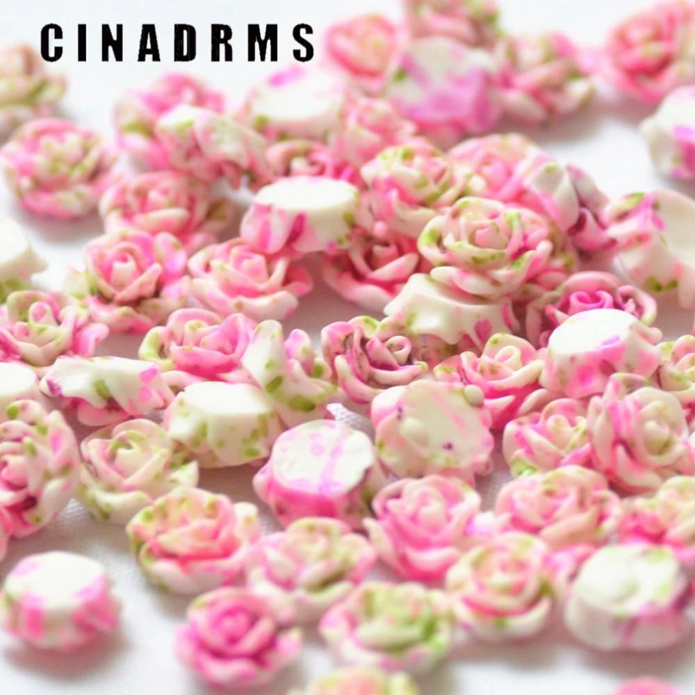 10 mm Light Peach Color Garden Rose Resin Flower Cabochons .tc