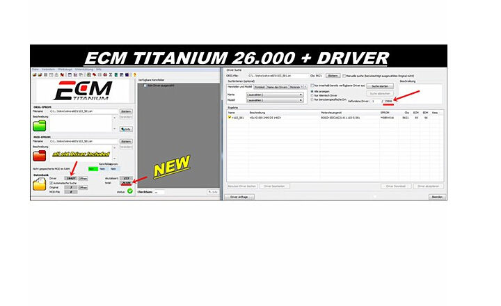 New Version ECM titanium 1.61 With 26100+ Driver for Ktag and kess by Free Shipping