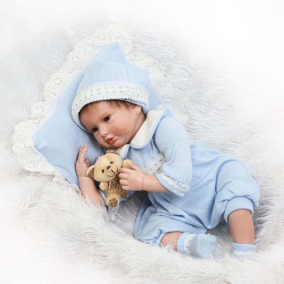 Lifelike Boneca Reborn 22 Inch Doll Toy Soft Silicone Reborn Baby Dolls So Truly Real Life bebe Boy Kids Xmas Gifts smile reborn girl with blue dress 22 lifelike baby dolls soft silicone fashion kids toy xmas gifts reborn baby doll for sale