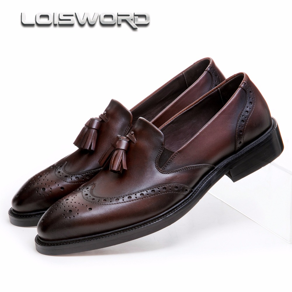 Fashion black / brown tan mens wedding shoes genuine leather loafers dress shoes mens formal work shoes with tassel basic editions mens black genuine leather loafers with snakeskin patterns