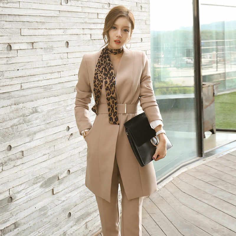 Женские деловые костюмы 2018 осенне-зимние корейские модные куртки длинные брюки костюмы повседневные костюмы из двух предметов элегантные OL Блейзер наборы
