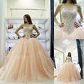 Novos Vestidos Quinceanera 2017 Off The Shoulder Baguetes Cristal Ball Vestido Sweet 16 Vestidos Debutante Vestido Para 15 Anos
