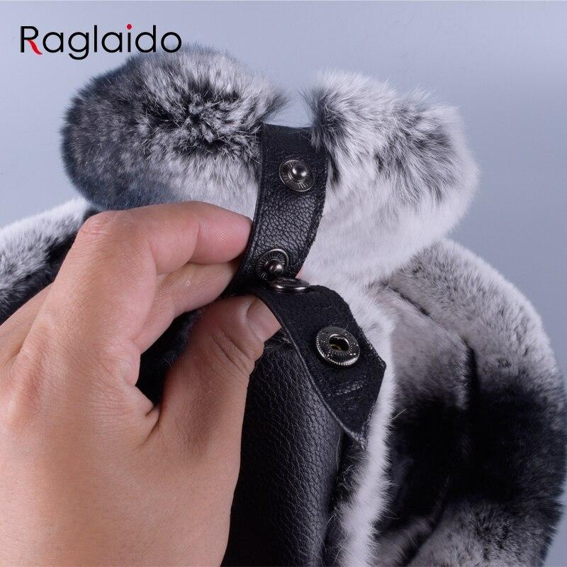 f889bfb7e55 Raglaido winter men s fur hats made of real fur sheep skin Ushanka Snow  Rabbit Black Leather Hat adjustable 56 59cm LQ11248-in Bomber Hats from  Apparel ...