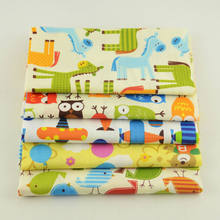 Cartoon Pattern Art Work Home Textile 5PCS Mix Cotton Fabric 20cmx50cm Twill Baby Clothes Quilting Meter Tissu Desk Decoration(China)