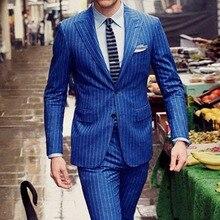 Mens Chalk Stripe Suit Custom Made Royal Blue  Mens Striped Suit,Tailored Single Breasted Chalk Striped Men Suit Peak Lapel