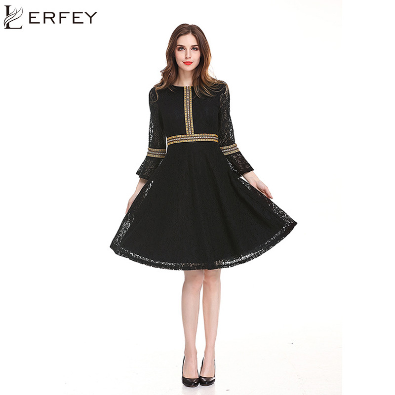 Aliexpress Buy Lerfey Women Lace Dress Ruffles Retro A Line