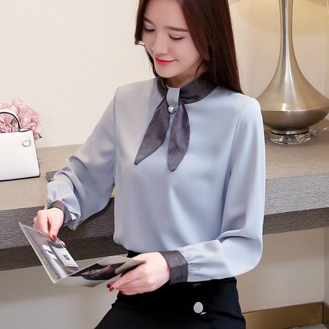 7139c56c764 2018 Весенняя мода с длинным рукавом отложной воротник горчичный зеленый  женские шифоновые рубашки офисные шифоновая женская