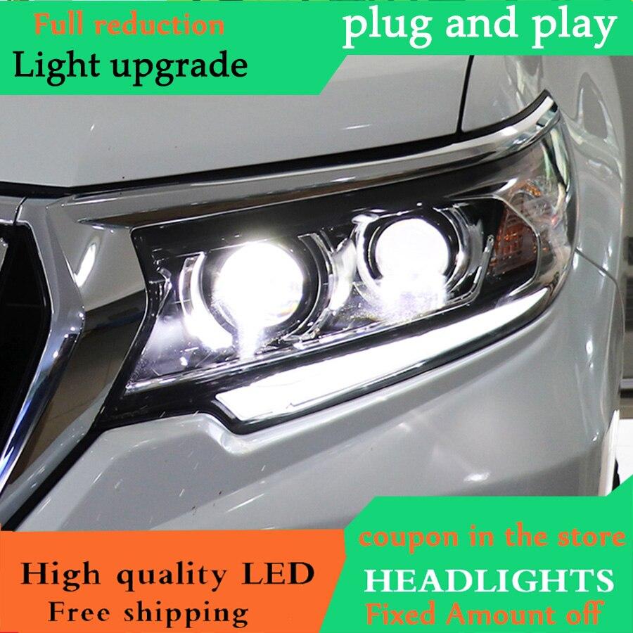 Car Styling Head Lamp for Toyota Prado Headlights 2018 LED Headlight DRL Daytime Running Light Guide