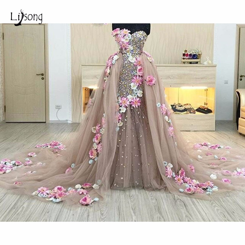 Saudi Arabic Crystal 2 Pieces   Evening     Dresses   With Detachable Train 3D Flower   Evening   Gowns Beaded Party Gown Abendkleider