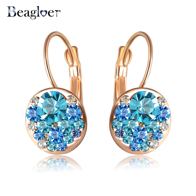 Beagloer Brand Delicate Girls Earrings Stud Rose Gold Color With