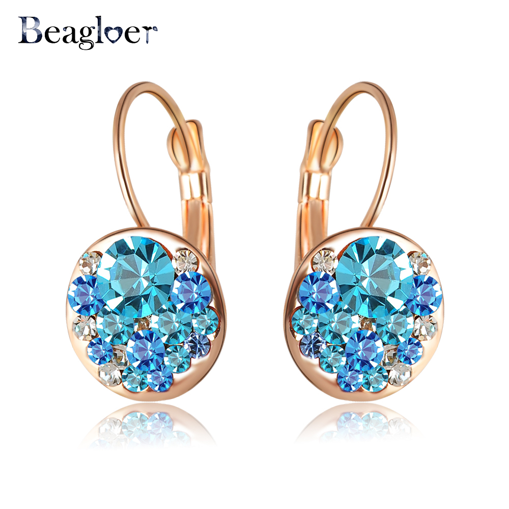 Beagloer Brand Delicate Girls Earrings Stud Rose Gold Color With Austrian Crystals Fashion Round Earrings Wholesale ER0118