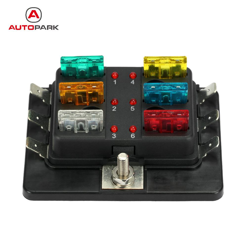 Kkmoon 6 Way 12v 24v Blade Fuse Box Holder With Led