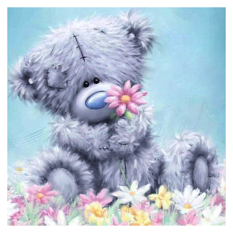 "Full Square / Bor Bulat 5D DIY Diamond Lukisan ""kartun Bear"" 3D Embroidery Cross Stitch 5D Rhinestone Home Decor Gift"