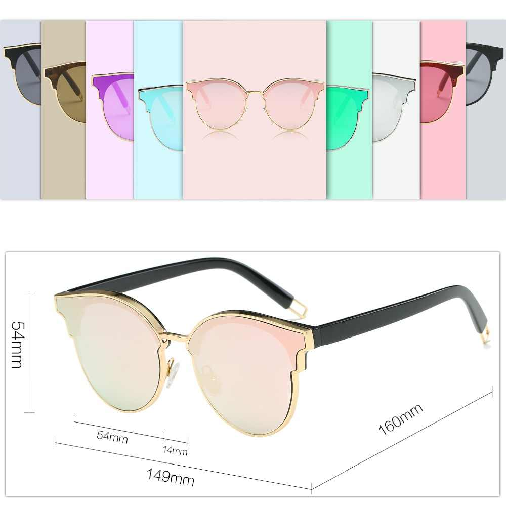 a6f875ff81d ... Sunglasses Woman Fashion CatEye Round Mirrored Flat Lenses Metal Frame  Oversized Party Summer Glasses Oculos De ...