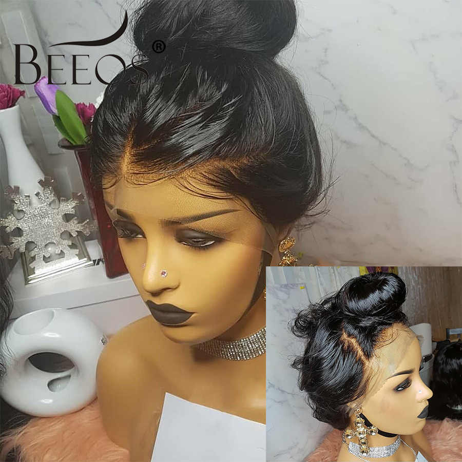 BEEOS Body Wave 360 peluca Frontal de encaje brasileño Remy pelucas de cabello humano con pelo de bebé para mujer predesplumado blanqueado nudos