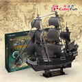 Cubicfun 3D paper model DIY toy birthday gift puzzle the Queen Anne's revenge Black Pearl Pirates of Caribbean boat ship
