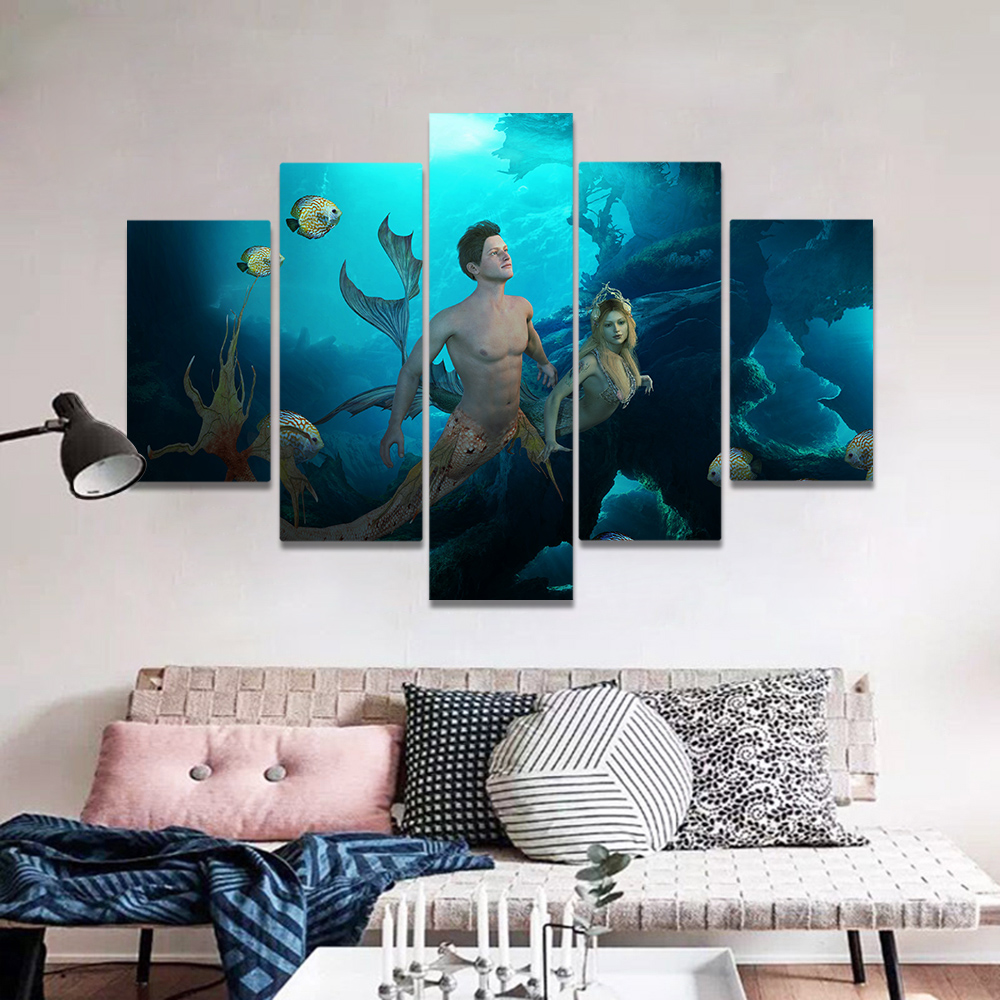 Unframed Canvas Painting Deep Sea Sunshine Mermaid Art Picture Prints Wall Picture For Living Room Wall Art Decoration