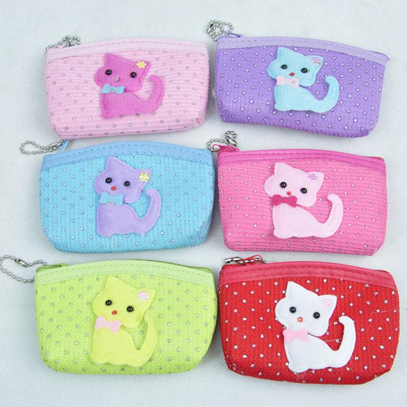 1 pcs Cartoon drill cat Zero wallet children lady girl boy zipper Wallet women Pocket Pouch Bag Keys coin bag Case kids gifts