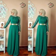 Emerald Green Long Sleeve Muslim Evening Dresses 2015 Cheap Elegant Sexy Lace Chiffon With Gold Belt Hijab Long Dress Prom Gown