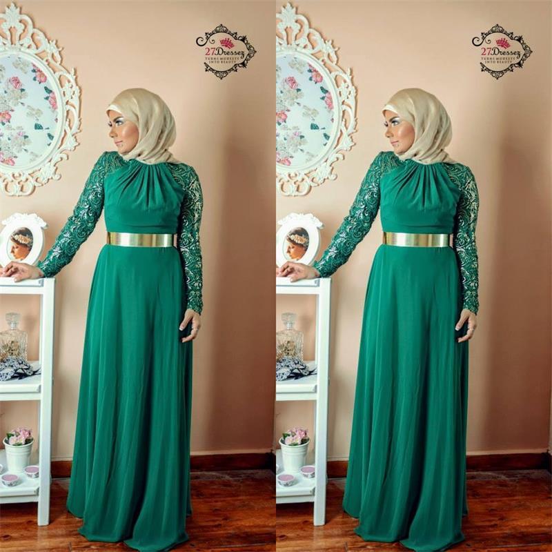 Vert émeraude à manches longues musulmane soirée robes 2015 pas cher élégant Sexy en mousseline de