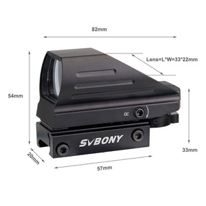 Image 2 - SVBONY 20mm Ratil 레드 닷 스코프 라이플 스코프 광학 전술 레드 그린 4 레티클 도트 반사 광학 시력 사냥 범위 F9129A