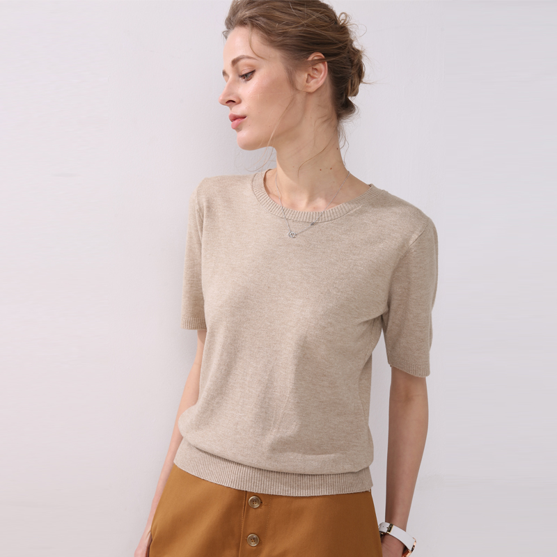 2019 Spring And Autumn Women's Large Solid Wool Cashmere Sweater Short Sleeve Round-neck Sweaters Knit Sweater Computer Oversize