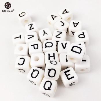Plastic Alphabet White 500PC size of 1cm Bead Acrylic Letters Children early Handmade DIY bracelet Plastic Baby teether