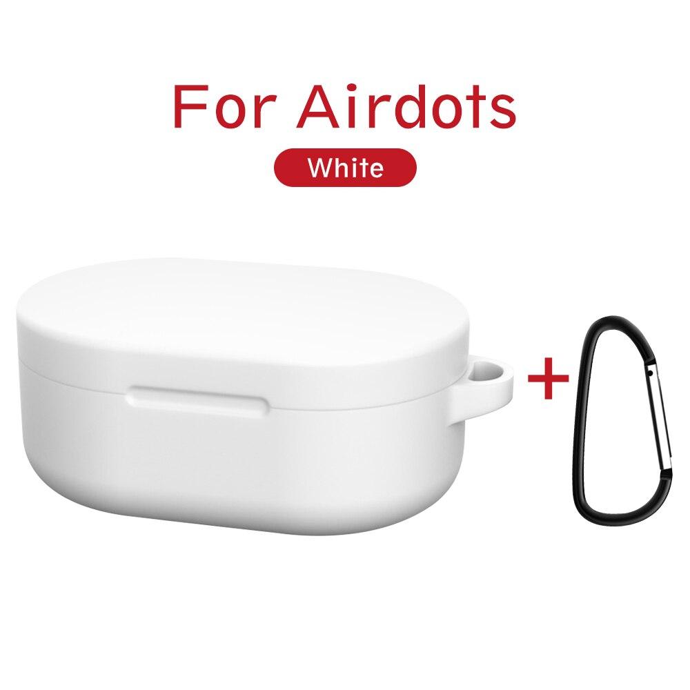 Силиконовый чехол с пряжкой для Red mi AirDots Air dots, чехол, беспроводной Bluetooth чехол s, мягкий ТПУ чехол - Цвет: Белый