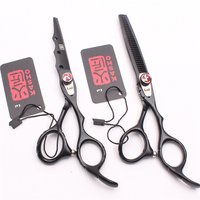 6 17 5cm Kasho Black Color Cutting Scissors Thinning Shears Styling Tool Hair Scissors Professional Hairdressing