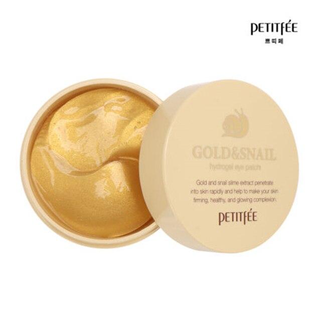 PETITFEE Gold Snail Eye Patch 60pcs Face Care Remove Black Finelines Moisturizing Firming Eye Bags Repair Eye Mask Sleep Masks