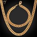 U7 dubai banhado a ouro conjunto de colar com festa de jóias por atacado banhado a ouro cubano cadeia colar pulseira conjunto de jóias homens s577