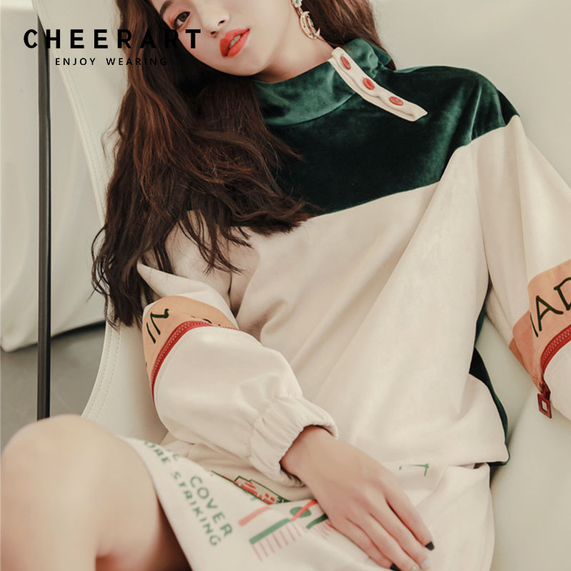 Cheerart Designer Velvet Sweatshirt Women Patchwork Turtleneck Hoodies Colorblock Velour Print Sweatshirts Designer Tracksuit