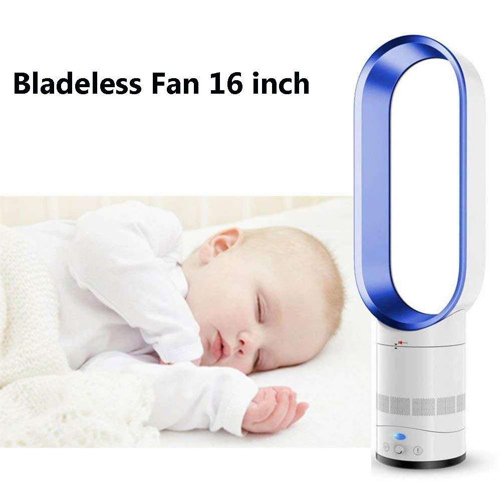 Bladeless Fan 16 Inches Super Quiet Desk Air Cooler Floor-standing Fan Low Noise With Remote Control
