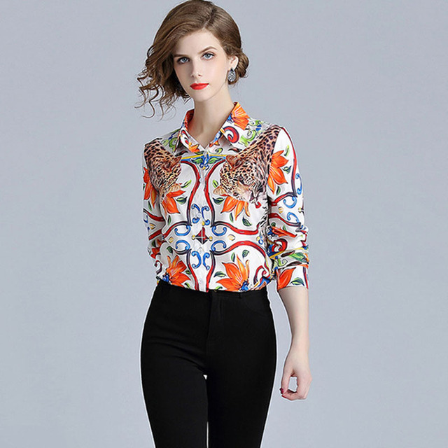 ee1873d579 Top Brand Fashion Runway Blouse Shirt 2019 Spring Womens Tops Long Sleeve  Elegant Ladies Office Shirts Animal Print Vintage Top