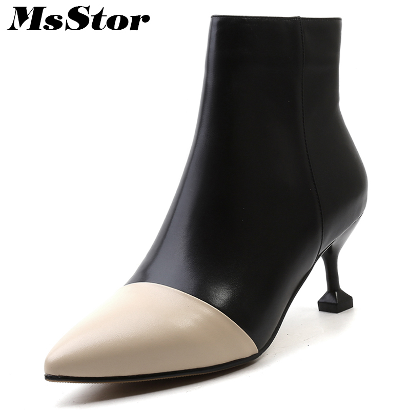 Msstor Pointed Toe Thin heels Women Boots Fashion Metal Zipper Ankle Boots Women Shoes Elegant Genuine Leather High Heel Boots daitifen 2018 women ankle boots lace up thin high heel pointed toe black genuine leather fashion women ankle boots side zipper