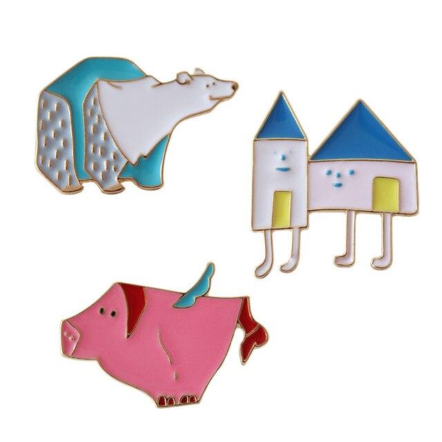 Doce bonito Casa Urso Polar Eanmel Emblemas Kawaii Adorável Porco Cor de Rosa do Metal Botões Decoração Broches Pinos na Mochila Para Meninas