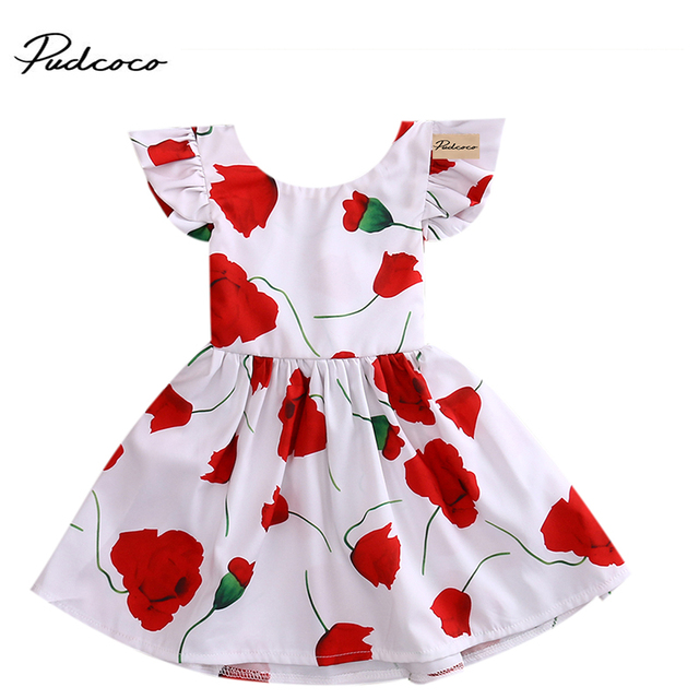 8861e3590fb13 US $3.63 14% OFF|2017 New Baby Dress Infant girl dresses Floral Print Baby  Girls Clothes Dress Princess Birthday Dress for Baby Girl-in Dresses from  ...