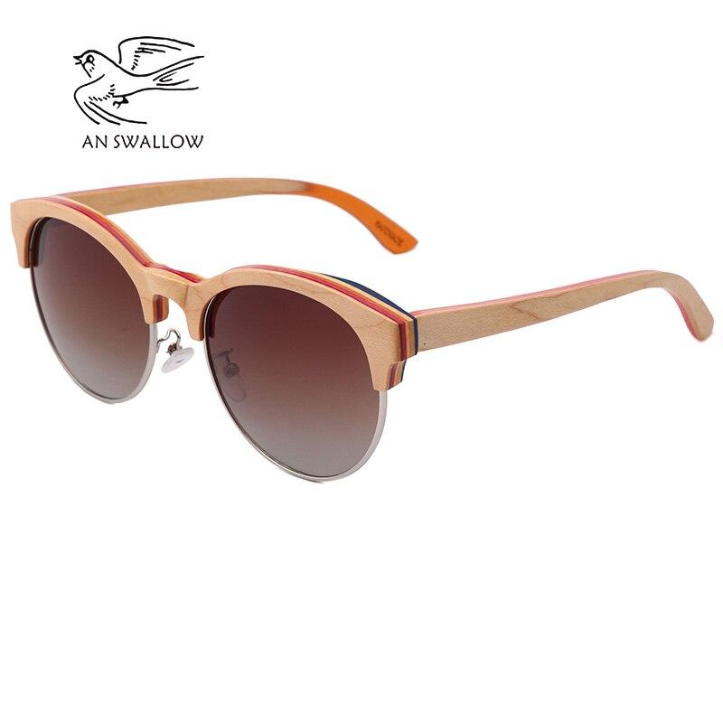 Image 5 - 2019 New Skateboard Wood Polarized Semi frame Sunglasses for Men TAC Lens UV400 Anti retro Ultraviolet SunglassesMens Sunglasses   -