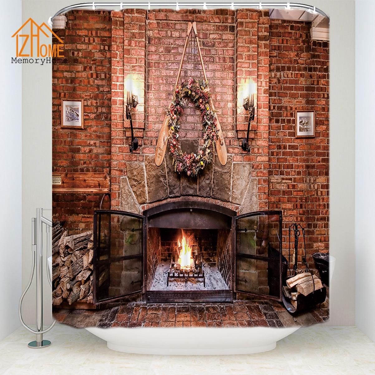 memoire maison nouvelle cheminee europeenne impermeable polyester tissu 3d rideau de douche ecologique avec des anneaux pour la decoration interieure