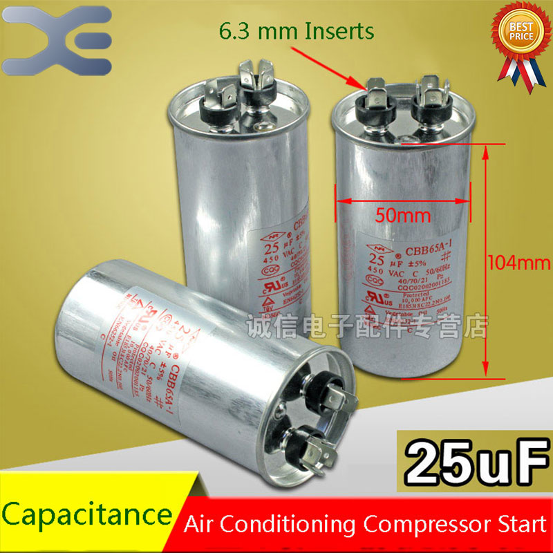 2Pcs New Air Conditioning Start Capacitor 25UF Air Conditioning Capacitor Air Conditioning Parts cbb65a explosion proof air conditioning compressor start capacitor 25uf30uf35uf40uf50uf60uf70uf80 450v