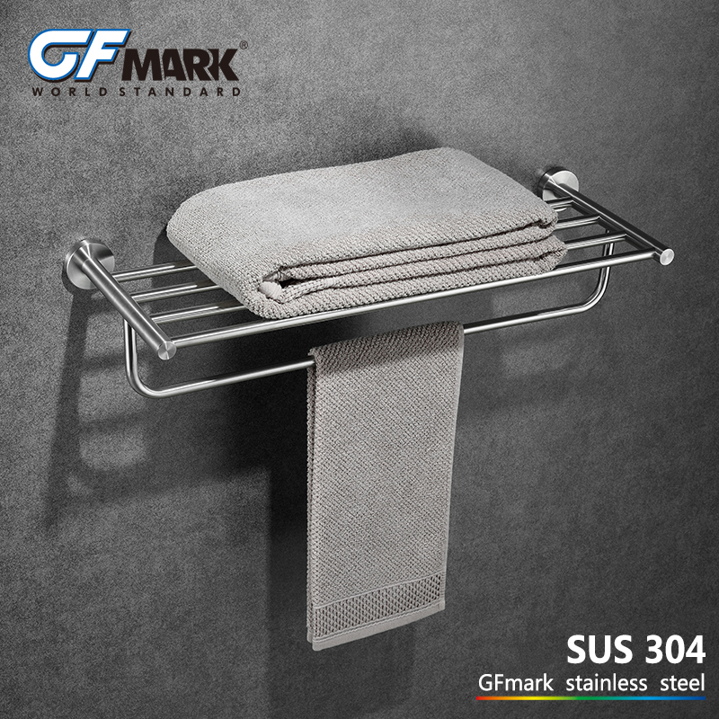 GFmark Fixed Towel Holder SUS304 Stainless Steel Antirust Wall Mount Bathroom Hardware Toalleros Porta toalha Towel Rack Hanger viborg deluxe sus304 stainless steel foldable wall mounted bathroom towel rack shelf towel holder storage
