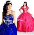 2015 Chegada Nova Namorada Meninas Vestido de Festa Doce 16 anos vestido de Baile Cristais Frisada Princesa Vestidos Quinceanera Azul Royal